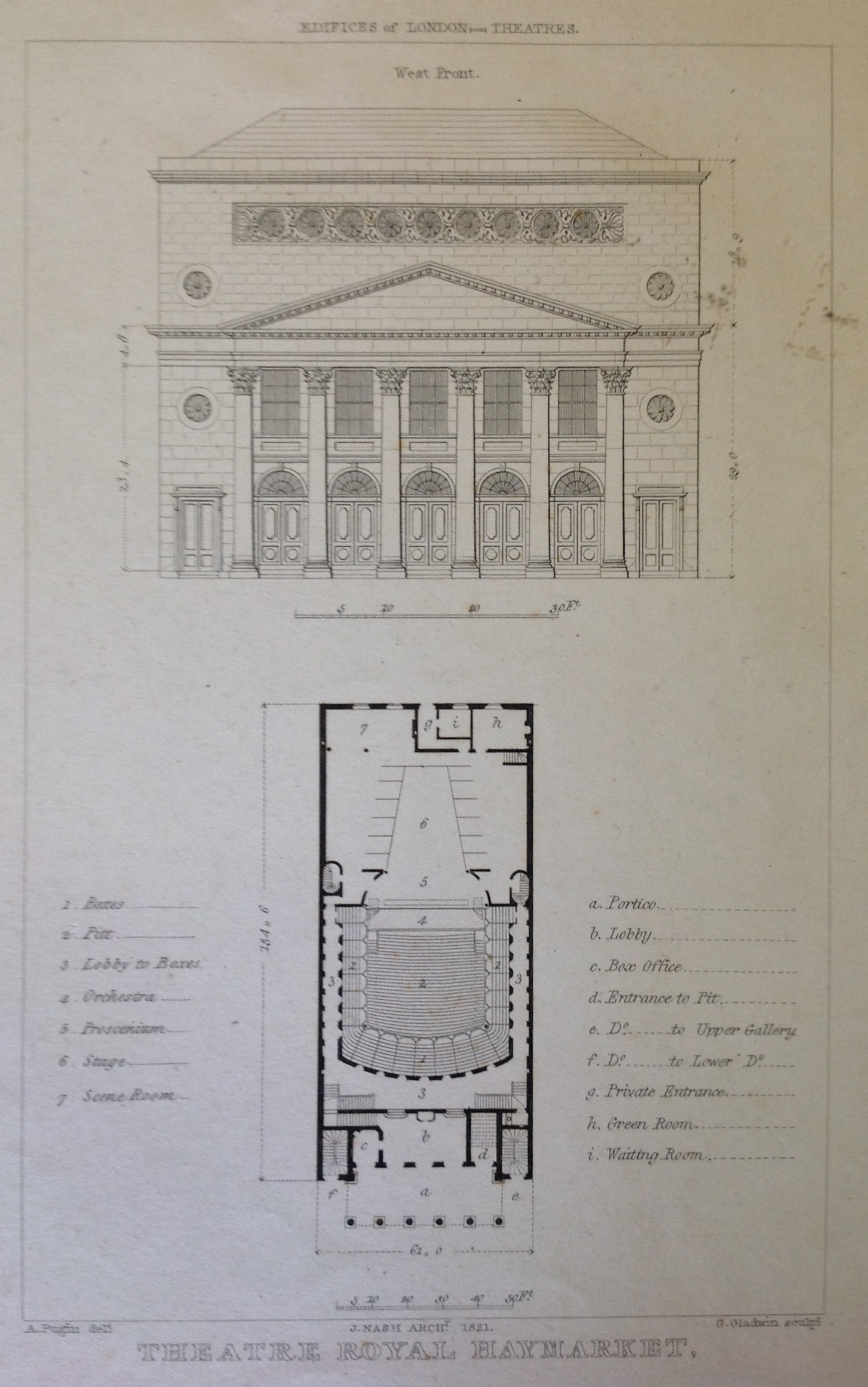 <b>Theatre Royal, Haymarket</b>     	</br>Exterior and floor plan of the Theatre Royal, Haymarket, London, 1821.</br><br/><b>Source: </b><i>Used with permission from the University of Bristol Theatre Collection.</i>