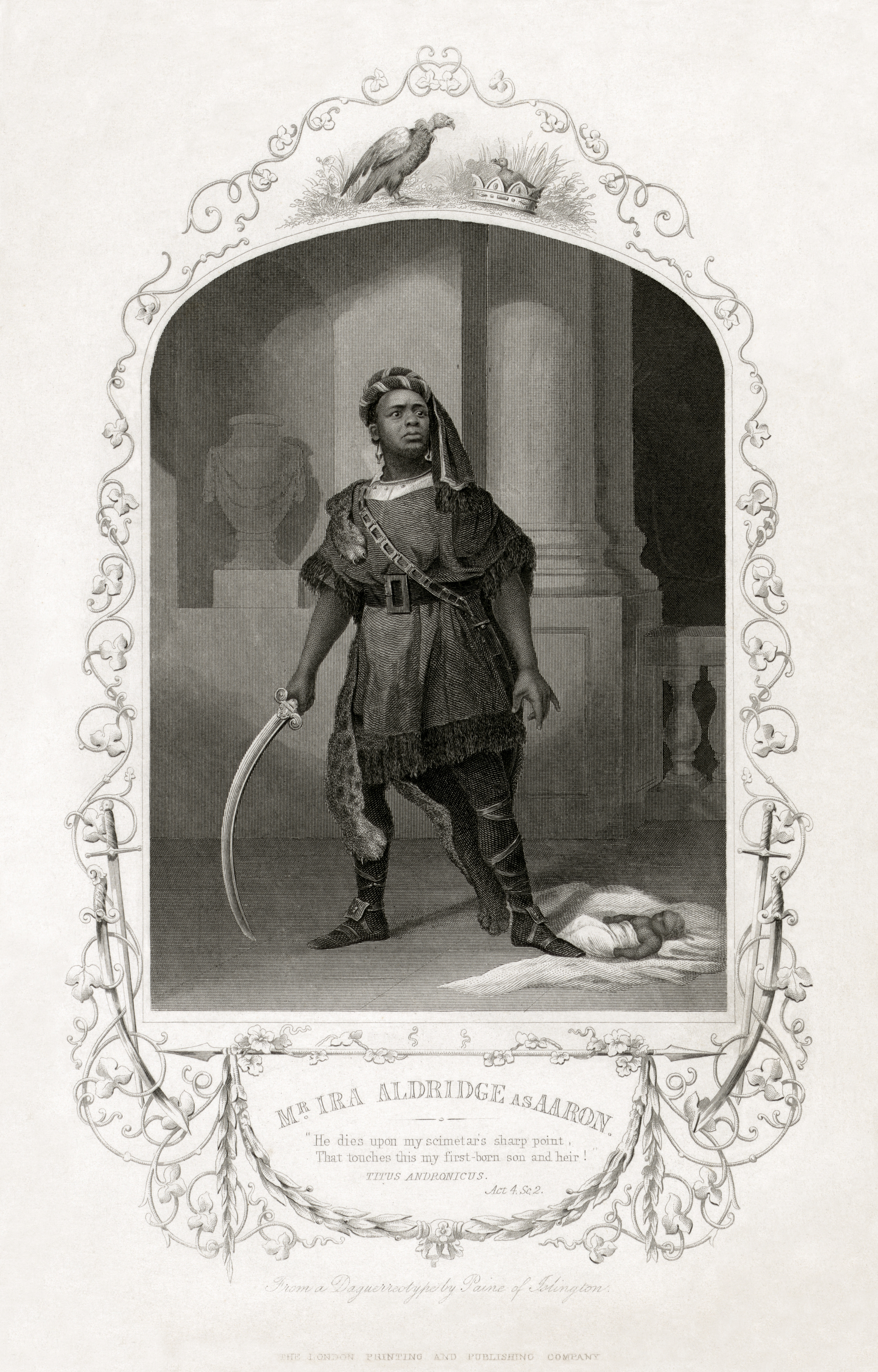 <b>Titus Andronicus</b>     	</br>Ira Aldridge as Aaron in Shakespeare&#39;s Titus Andronicus, Britannia Theatre, Hoxton, c.a.1852</br><br/><b>Source: </b><i>Mr. Ira Aldridge as Aaron (Call number: LOT 8521 [item] [P&amp;P] BIOG FILE - Aldridge, Ira Frederick, d. 1887.), [1852?], Library of Congress Prints and Photographs Division, Library of Congress, http://www.loc.gov/pictures/item/99471607/</i>