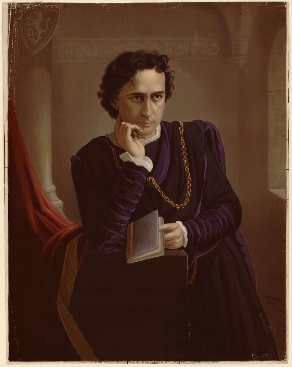 <b>Edwin Booth as Hamlet, 1873</b>     	</br>A lithograph of Edwin Booth as Hamlet, 1873.</br><br/><b>Source: </b><i>Public Domain. https://commons.wikimedia.org/wiki/File:Edwin_Booth_as_Hamlet_lithograph.tif</i>